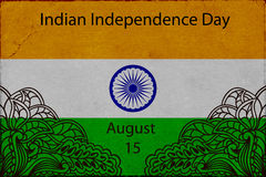 Template Design advertising poster or flyer for the day of Indias independence.. Flag of India with elements mahendi. Vector illustration Stock Image