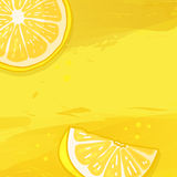 Template design banner background with lemon fruit. The back with a slice of lemon and a watercolor texture.  Royalty Free Stock Photography
