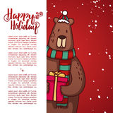 Template design banner for Christmas. Frame with cute cartoon bear Stock Photography