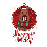 Template design banner for Christmas. Frame with cute cartoon bear wearing a scarf. Royalty Free Stock Photos
