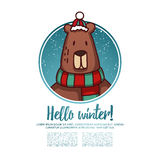 Template design banner for Christmas. Frame with cute cartoon bear wearing a scarf Royalty Free Stock Image