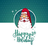 Template design banner for Christmas. Frame with cute cartoon Santa Claus in glasses. Royalty Free Stock Images