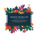 Template design banner for fall season with autumn frame and herb. Promotion offer with autumnal oak plant, maple leave Stock Image