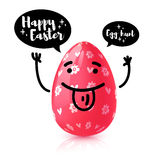 Template design  banner for Happy Easter. Invitation for Easter Egg hunt with rad  funny egg with emotional emoji.   Stock Photography