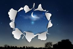 Torn paper with ripped edges. vector background with torn paper over Blue dark night sky. royalty free illustration