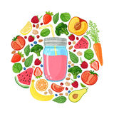 Template design banners, brochures, flyers smoothie. Design poster with smoothie jar  Stock Image
