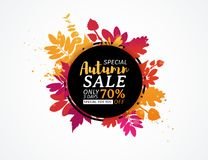 Template design black circle autumn sale banner with decor color silhouette of plants. Sign of promotion and discount. S offer of the nature of the fall season royalty free illustration