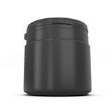 Template for design of a black plastic can with product Royalty Free Stock Photo
