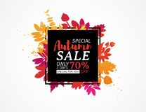 Template design black square autumn sale banner with decor color silhouette of plants. Sign of promotion and discounts. Offer of the nature of the fall season vector illustration