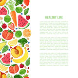 Template design booklet with the decor of the fruit. Horizontal pattern of natural foods. Template design booklet with the decor of the fruit. Vertical pattern stock illustration