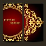 Template for design of the booklet with vintage gold ornament Stock Photography