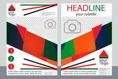 Template design of brochures with place for your photo. A sample Stock Photos