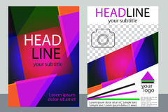 Template design of brochures with place for your photo. A sample. Of bright color flyer. Vector illustration Stock Photo