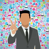 Template design Businessman Holds two fingers. Idea with social network icons background Stock Photo