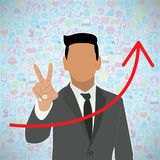 Template design Businessman Holds two fingers. Idea with social network icons background Stock Image