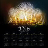 Template design - Calendar 2016 with firework for months.  Royalty Free Stock Photos