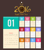 Template design - Calendar 2016 with paper page for months.  Stock Image