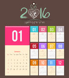 Template design - Calendar 2016 with paper page for months.  Royalty Free Stock Photo