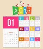 Template design - Calendar 2016 with paper page for months.  Royalty Free Stock Image