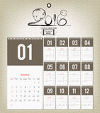 Template design - Calendar 2016 with paper page for months.  royalty free illustration