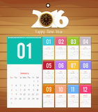 Template design - Calendar 2016 with paper page for months.  Stock Photo