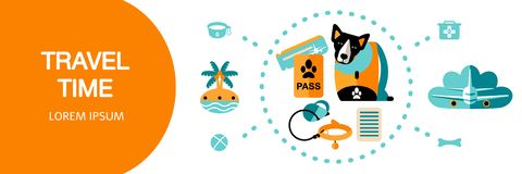 Template design card with flat style icons of traveling with pet stock illustration