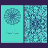 Template design cards. Business card. Card or invitation. Mandala Design Royalty Free Stock Photo