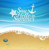 Template design. Cartoon background with beach Royalty Free Stock Images