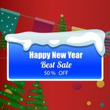 Template design christmas banner Happy new year. Vector illustration Royalty Free Stock Images