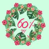 Template design circle sale banner 60% off stock illustration