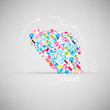 Template design Cloud with social network Royalty Free Stock Images