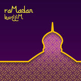 Template design concept background for ramadan kareem celebration. Purple background with gold pattern. The inscription Ramadan Ka Royalty Free Stock Photo