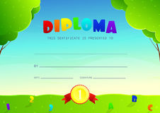 Template of design of diploma for kids Royalty Free Stock Photography