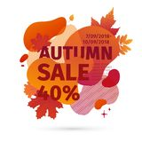Template design discount banner for autumn season. Poster special fall sale with orange flower, leaf decoration. Trandy. Layout badge for autumnal offer on stock illustration