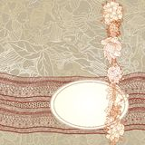 Template design with  flowers and lace ribbon. Royalty Free Stock Photography