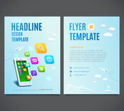 Template design flyer, white smartphone with cloud of application colorful icons. Vector Royalty Free Stock Photos