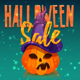 Template design greeting card, flyer, poster for Happy Halloween discount . Decoration pumpkin and magical witchs hat Royalty Free Stock Images