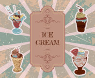 Template for design with hand drawn ice cream typography poster Royalty Free Stock Photos