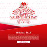 Template design Happy valentine`s day card. Discount poster with red color tape and special valentine`s sale text. Romantic banner and coupon with heart Royalty Free Stock Image