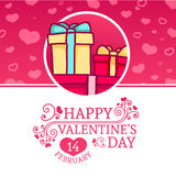Template design Happy valentine`s day card . Holiday poster with pink backgraund color  and special valentine`s tex Royalty Free Stock Photo