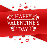Template design Happy valentine`s day card. Holiday poster with red color tape and special valentine`s  text. Romanti Royalty Free Stock Image