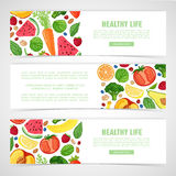 Template design horizontal banner with the decor of the fruit. Vertical pattern of natural foods, fruits, vegetables and. Berries. Frame with decor vegetarian vector illustration
