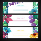 Template design horizontal banner set with floral decoration.  Frame with the decor of flowers, leaves, twigs. Invitatio. Template design horizontal banner set Stock Photo