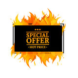 Template design horizontal banner with Special sale. Black rectangular card. For hot offer with frame fire graphic. Advertising poster layout with flame border Royalty Free Stock Image