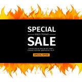 Template design horizontal banner with Special sale. Card for hot offer with frame fire graphic. Invitation layout. With flame border on white background Stock Photo