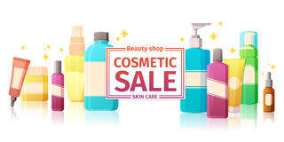 Template design of horizontal banners with a set of cosmetics packaging. Banner for the sale of cosmetics for skin care Stock Photography