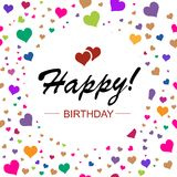Template design for horizontal card. Happy birthday in circle on Stock Image