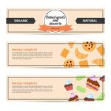 Template design horizontal flyer for baked goods and desserts. Royalty Free Stock Photography