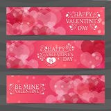 Template design of horizontal pink banners, brochures, coupons with a pattern of hearts. Good for Valentine's Day Royalty Free Stock Images