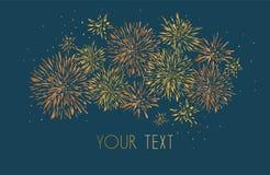 Template design of invitation with gold fireworks. Festive design postcards, invitations, brochures, cover, border. element for de royalty free illustration